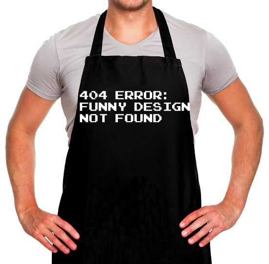 404 Error Funny Design Not Found Apron