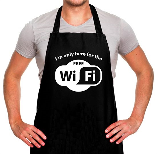 I'm Only Here For The Free WiFi Apron