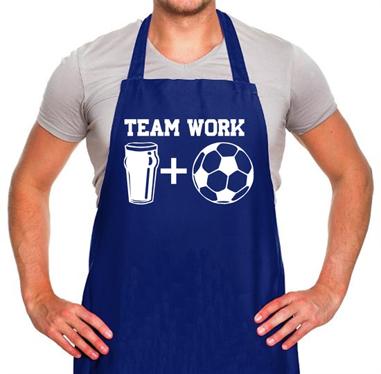 Teamwork, beer and football Apron