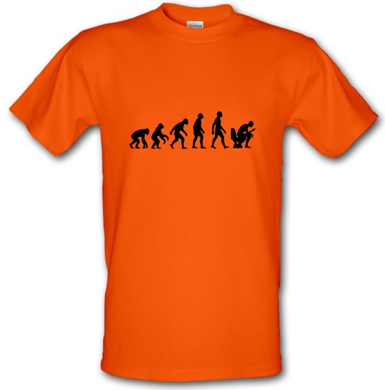 Evolution of Man Toilet Phone t-shirts