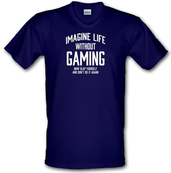 Imagine Life Without Gaming V-Neck T-Shirts