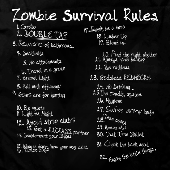 List of Zombie Rules Apron