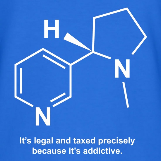 Nicotine - It's legal and taxed precisely because it's addictive t-shirts