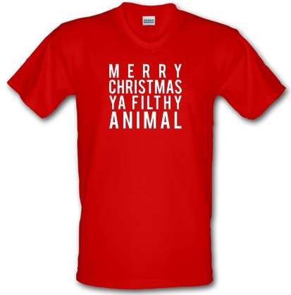 6b9d4db3 Merry Christmas Ya Filthy Animal V-neck T Shirt By CharGrilled