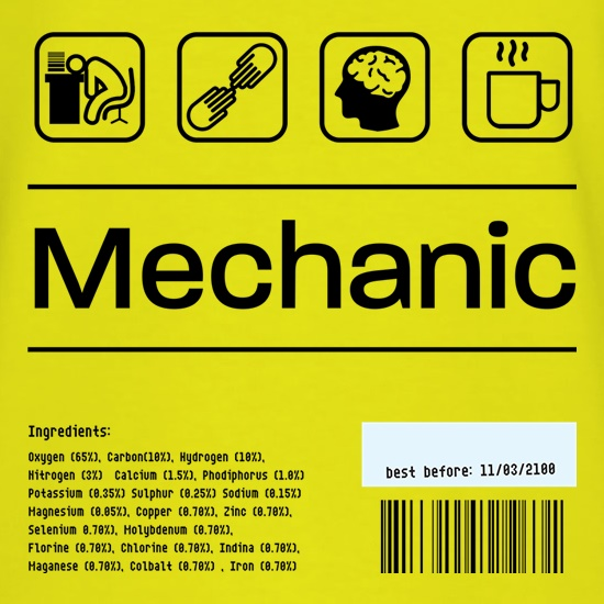 Mechanic Ingredients t shirt